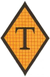 Diamond Applique T embroidery design