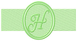 Embossed Letter H embroidery design