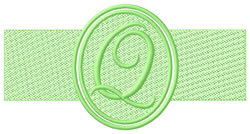 Embossed Letter Q embroidery design