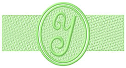 Embossed Letter Y embroidery design