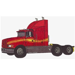 Semi-tractor embroidery design