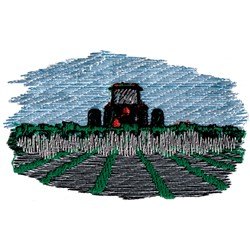 Tractor Plowing Fields embroidery design