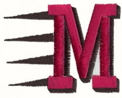 Fast M embroidery design