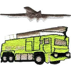 Airport fire truck embroidery design