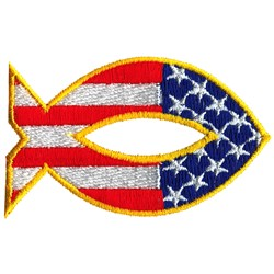 Patriotic Fish embroidery design