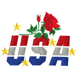 USA Rose embroidery design