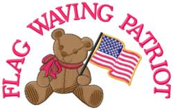 Flag Waving Patriot embroidery design
