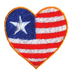 Flag Heart embroidery design