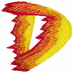 Flame D embroidery design