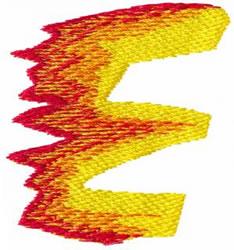 Flame E embroidery design