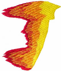 Flame J embroidery design