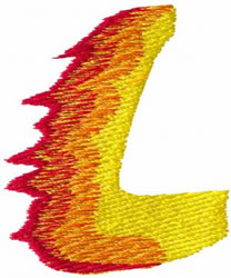 Flame L embroidery design