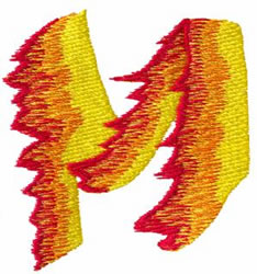 Flame M embroidery design