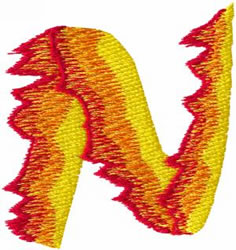 Flame N embroidery design