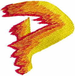 Flame P embroidery design