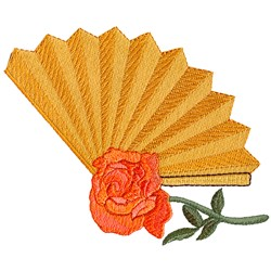 Fan and Rose embroidery design