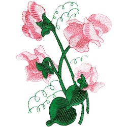 Sweet peas embroidery design