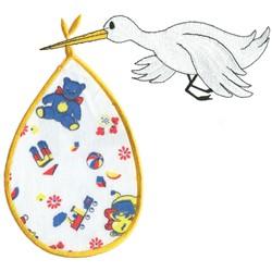 Stork Applique embroidery design