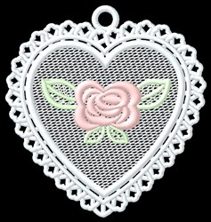FSL Rose Heart Ornament embroidery design
