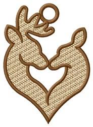 Deer Kiss Ornament embroidery design