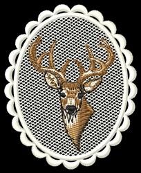Deer Head Oval embroidery design