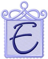 Framed Purple Font E embroidery design