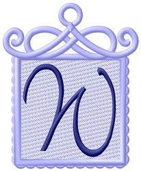 Framed Purple Font W embroidery design
