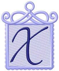 Framed Purple Font X embroidery design