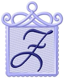 Framed Purple Font Z embroidery design