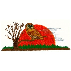Owl Sunrise embroidery design