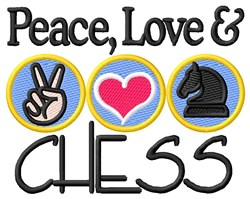 Peace Love Chess embroidery design