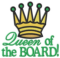 Queen of the Board embroidery design