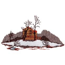 Winter Cabin Scene embroidery design