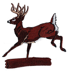 Deer Leaping Log embroidery design