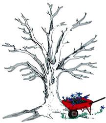 Tree & Wheelbarrow embroidery design