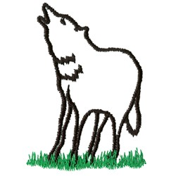 Howling Wolf Outline embroidery design