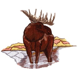 Moose Scene embroidery design