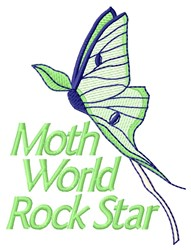 Moth Rock Star embroidery design