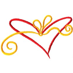 Abstract Heart and Bow embroidery design
