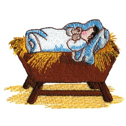 Baby in Manger embroidery design