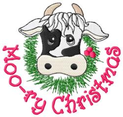 Moo-ry Christmas embroidery design
