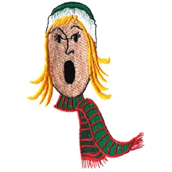 Female Caroler embroidery design