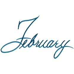 February Script embroidery design