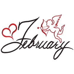 February with Cupid embroidery design