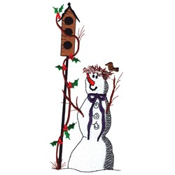 Birdhouse Snowman embroidery design
