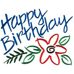 Happy Birthday Flower embroidery design
