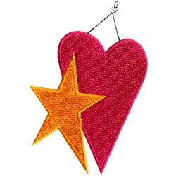 Heart & Star embroidery design