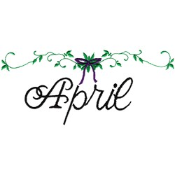 Month of April embroidery design