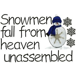 Unassembled Snowman embroidery design