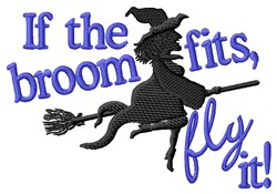 Witch Flying Broom embroidery design